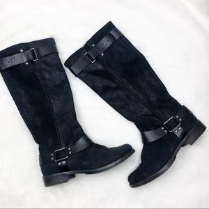 Ugg Black Leather Knee High Boots Size 7.5